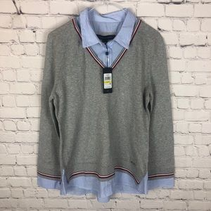 NWT Tommy Hilfiger Dress Shirt Sweater Combo Med